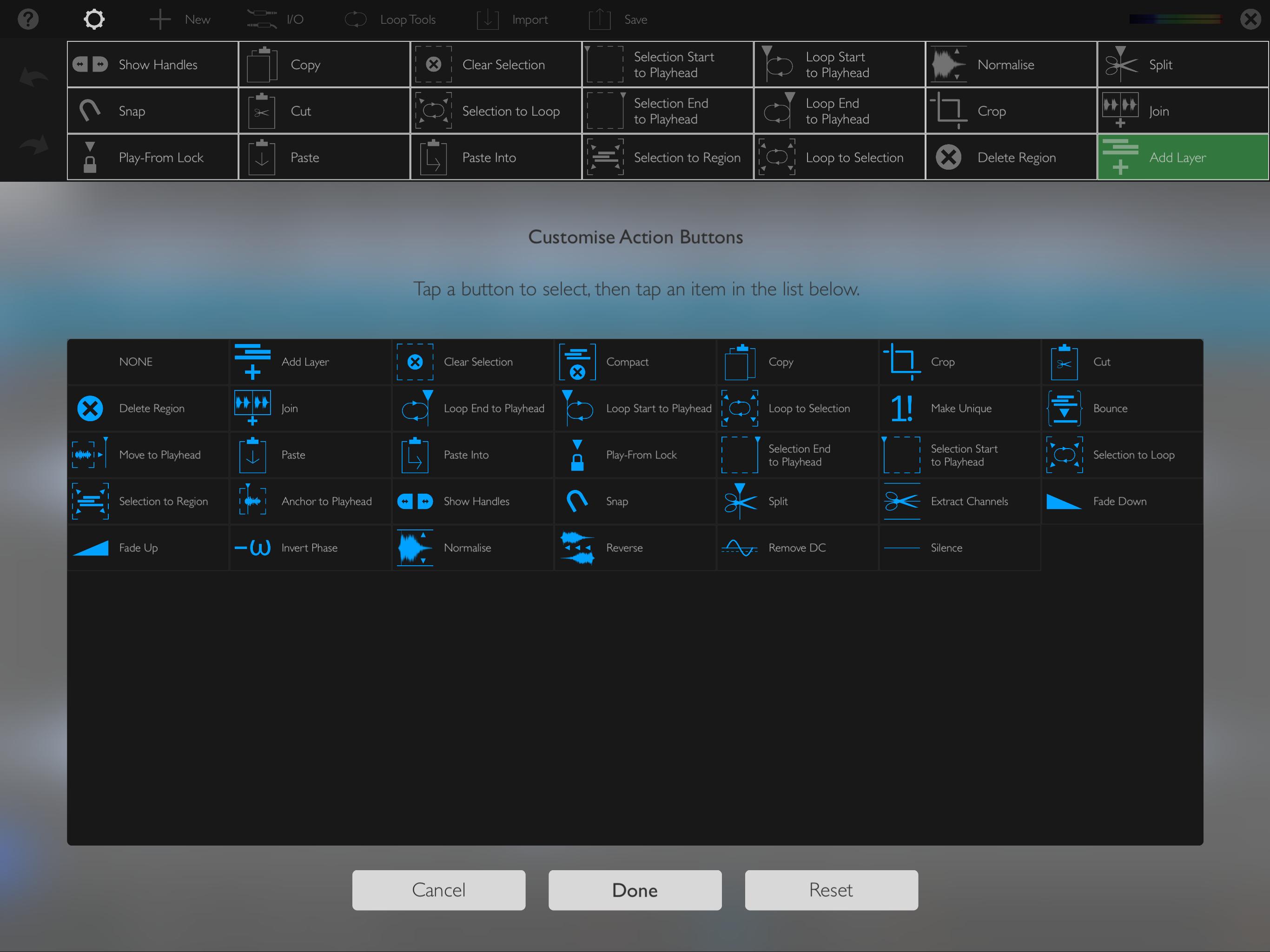 Auditor Customise Toolbar